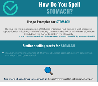 Correct spelling for stomach