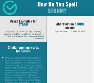 Correct spelling for storm