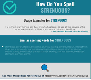 Correct spelling for strenuous