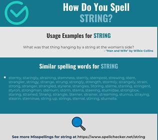 Correct spelling for string
