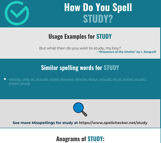 Correct spelling for study