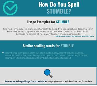 Correct spelling for stumble