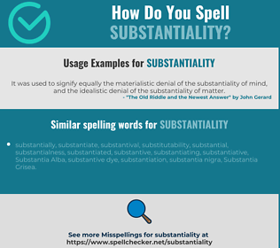 Correct spelling for substantiality