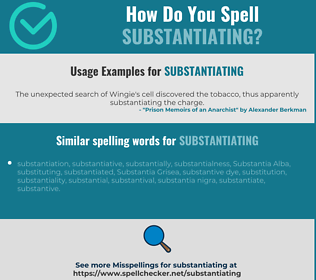 Correct spelling for substantiating