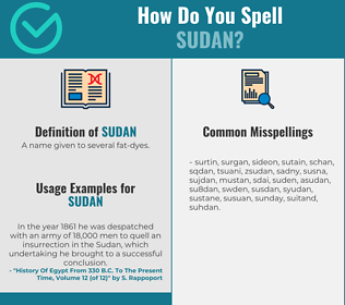 Correct spelling for sudan