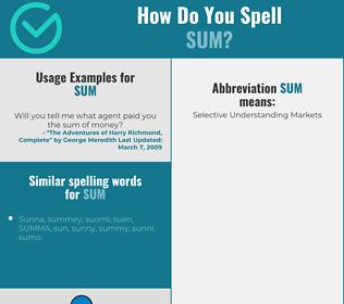 Correct spelling for sum
