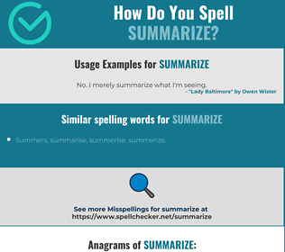 Correct spelling for summarize