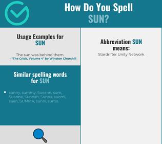 Correct spelling for sun