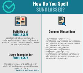 Correct spelling for sunglasses