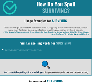 Correct spelling for surviving