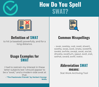 Correct spelling for swat