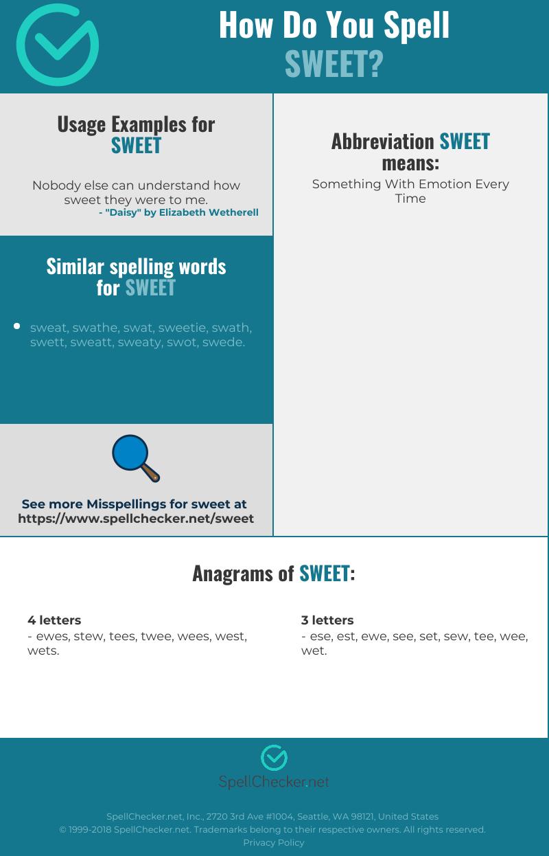 Correct spelling for sweet [Infographic] | Spellchecker net