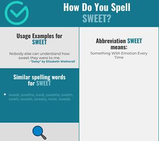 Correct spelling for sweet