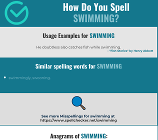 Correct spelling for swimming