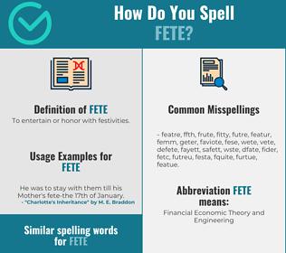 Correct spelling for fete