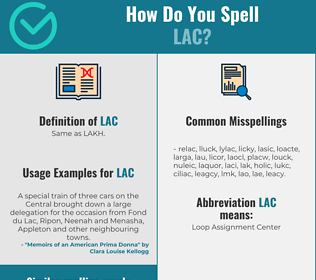 Correct spelling for lac