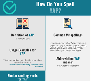 Correct spelling for yap