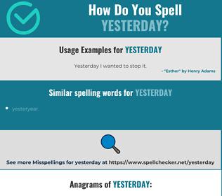 Correct spelling for yesterday