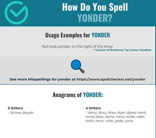 Correct spelling for yonder