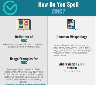 Correct spelling for zinc