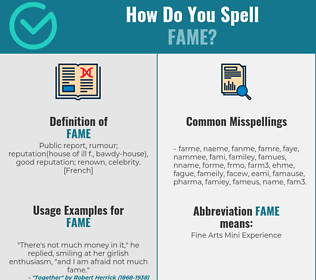 Correct spelling for Fame