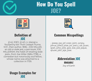 Correct spelling for Joe