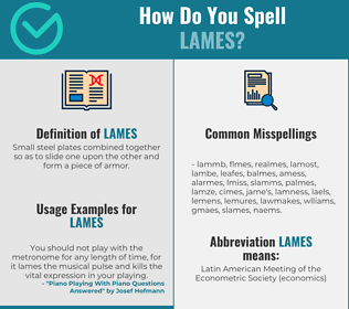 Correct spelling for Lames