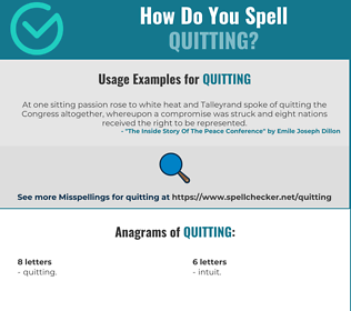 Correct spelling for Quitting