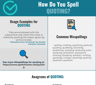 Correct spelling for Quoting