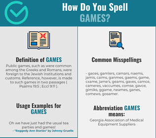 Correct spelling for games