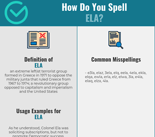 Correct spelling for ELA