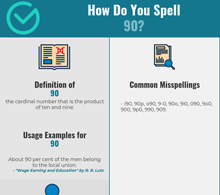 Correct spelling for 90