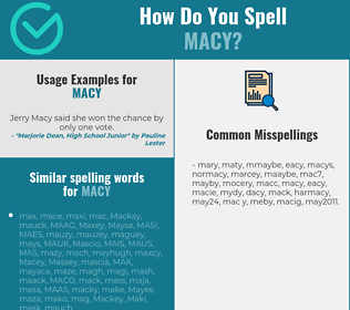 Correct spelling for Macy