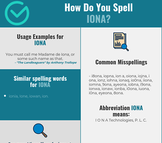 Correct spelling for Iona