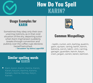 Correct spelling for Karin