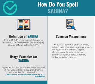 Correct spelling for Sabina
