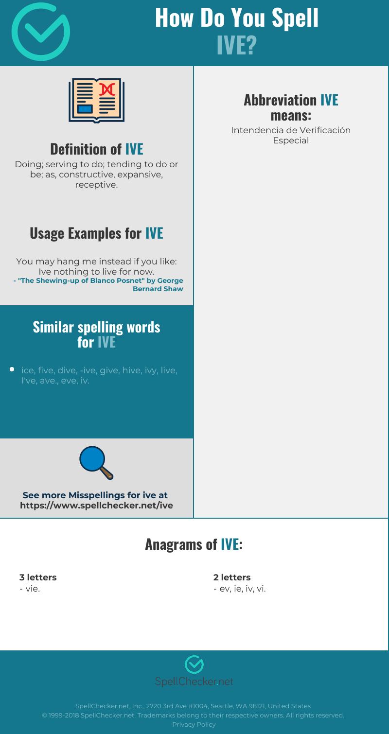 Correct spelling for Ive [Infographic] | Spellchecker.net