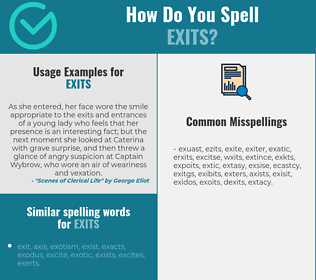 Correct spelling for exits