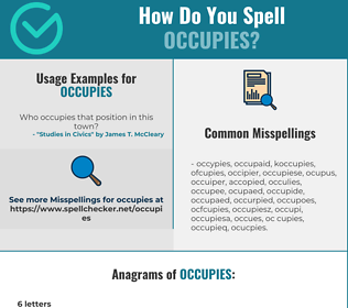 Correct spelling for occupies