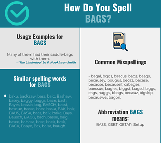 Correct spelling for bags