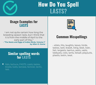 Correct spelling for lasts