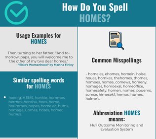 Correct spelling for homes