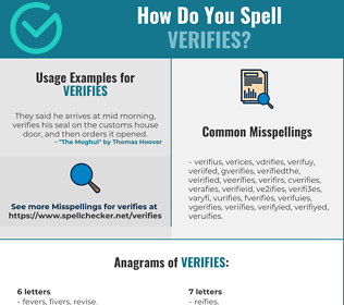 Correct spelling for verifies