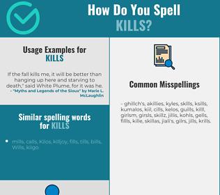 Correct spelling for kills