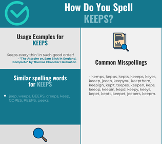 Correct spelling for keeps