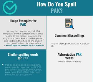 Correct spelling for PAK