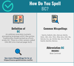 Correct spelling for BC