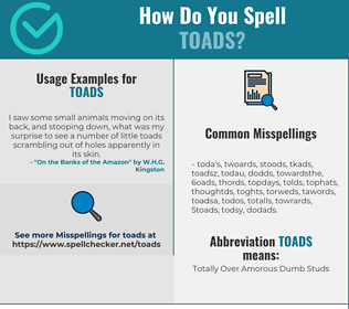Correct spelling for TOADS