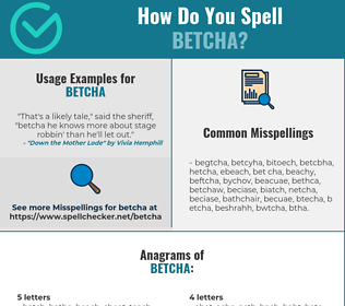 Correct spelling for BETCHA