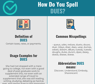 Correct spelling for DUES